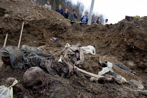 Cerska Massacre - remains of Bosniak civilians killed by Serbs in the Cerska massacre near Srebrenica in 1993