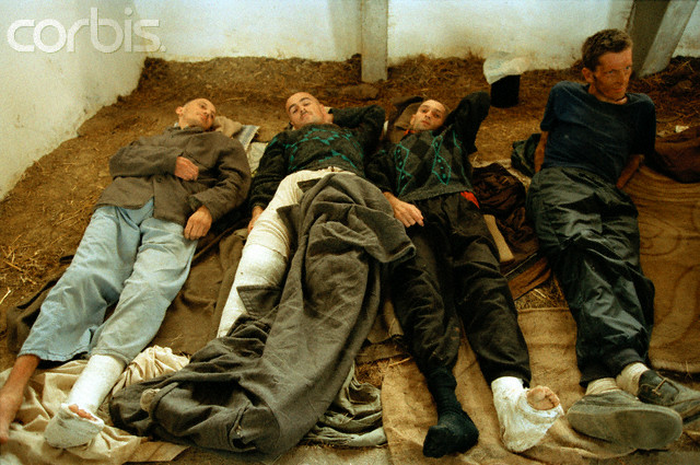 Bosnian Genocide, August 1992. Manjaca concentration camp near Prijedor, north-west Bosnia. Thousands of civilians, mostly Bosniaks (Bosnian Muslims) were tortured and killed there. Photographer: Isabel Ellsen