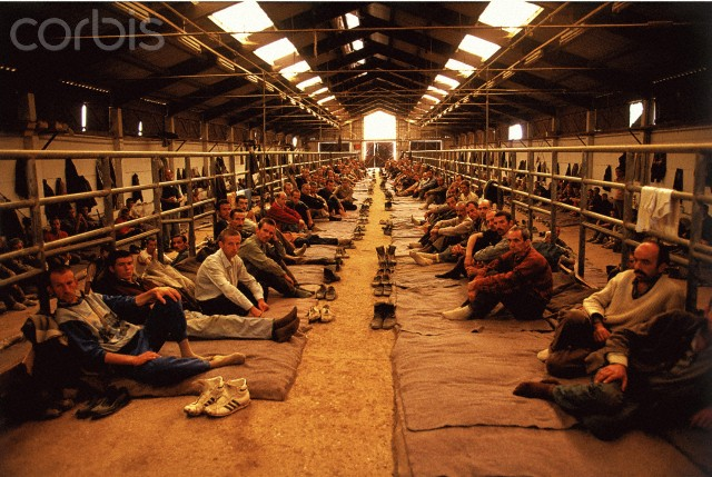 Bosnian Genocide, 1992. Manjaca concentration camp near Prijedor, north-west Bosnia. Photographer: Ron Haviv