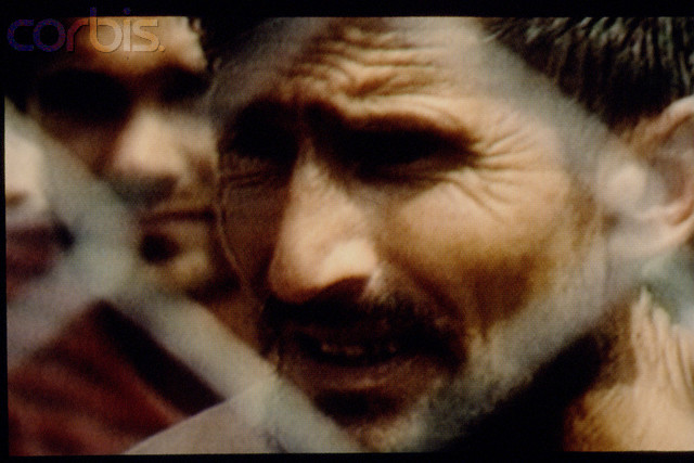 Bosnian Genocide, 1992: TV Pictures of the Serb-run Omarska concentration camp taken on 7 August 1992.