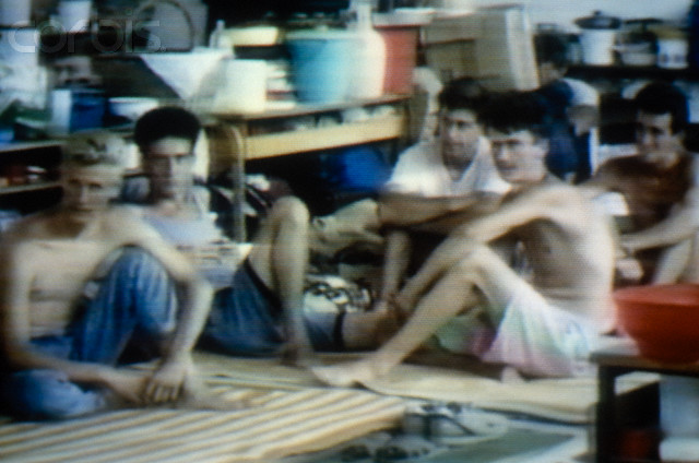 Bosnian Genocide, 1992: TV Pictures of the Serb-run Omarska concentration camp near Prijedor, Bosnia. Thousands of civilians, mostly Bosniaks, died there in 1992.