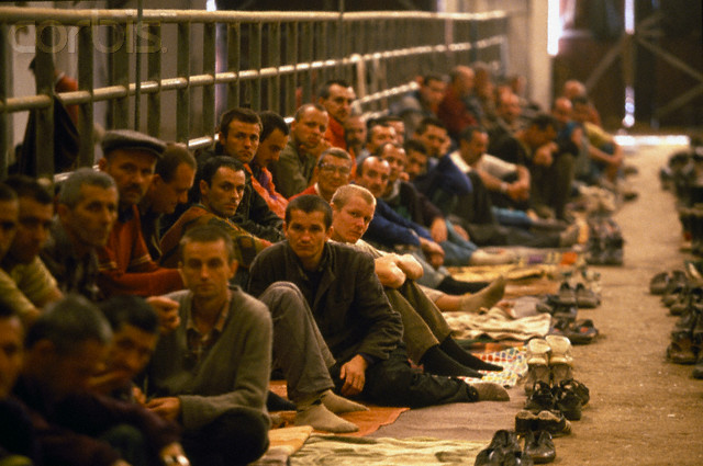 Bosniak (Bosnian Muslim) civilians inside the notorious Manjaca concentration camp near prijedor in 1993.
