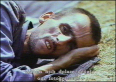 Bosnian Genocide (1992), Bosnian Muslim (Bosniak) prisoner in Omarska concentration camp near Prijedor.