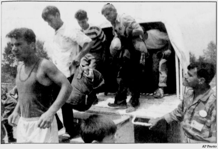 Bosnian Genocide survivors from the conquered Srebrenica arrived in Tuzla on Monday night after seven days of death marches from Srebrenica to Bosnian government held territory. A U.N. truck helped them arrive to Tuzla and look for relatives who have also fled the fallen city.
