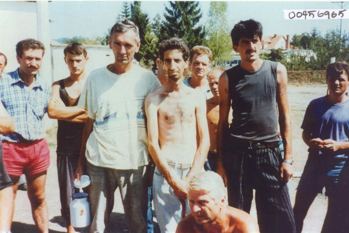 Bosniak (Bosnian Muslim) civilians in the Trnopolje concentration camp.