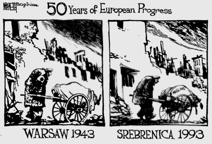Warsaw Ghetto (Jews) and Srebrenica Ghetto (Bosnian Muslims)